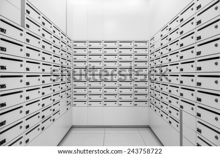 Mailboxes in Apartment ,Postal room building Facility - stock photo