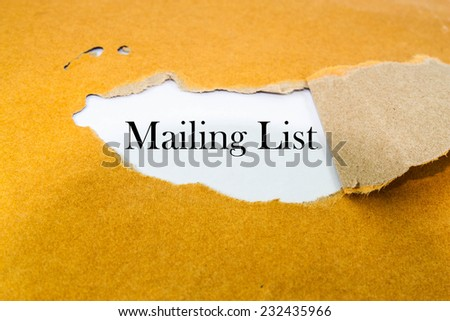 Mailing list concept on brown envelope - stock photo