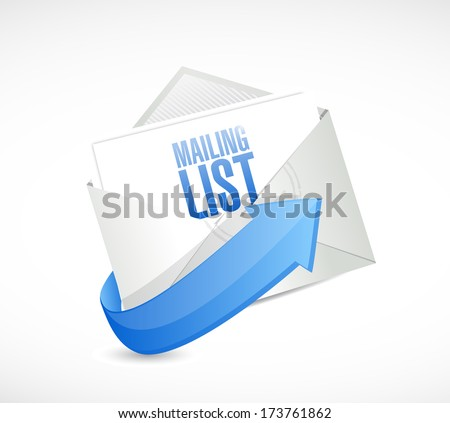 mailing list email illustration design over a white background - stock photo