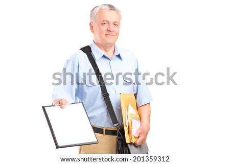 Mailman holding clipboard and bunch of envelopes isolated on white background - stock photo