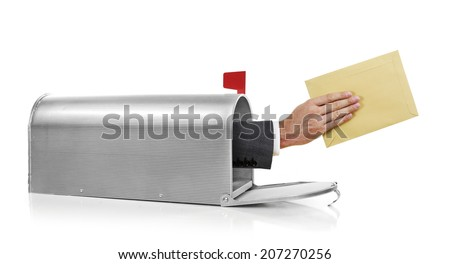 Mailman with envelope Mailman holding a yellow envelope - stock photo