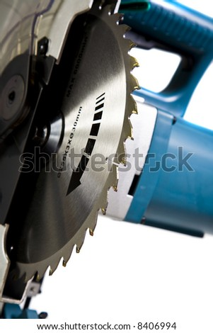 Main Assembly of Mitre Saw with Blade Teeth in Focus - stock photo