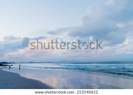 Main beach in Byron Bay after sunset in Australia - stock photo