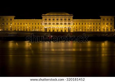 Main Building of Corvinus University on the Danube Riverbank in Budapest, Hungary - stock photo
