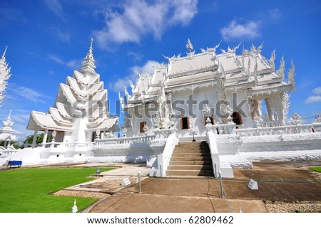 Main chapel of the famous Wat Rong Khun (White temple) in Thailand - stock photo