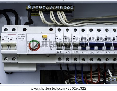 Main Circuit Box Breaker Electrical Panel With Fuses In Home