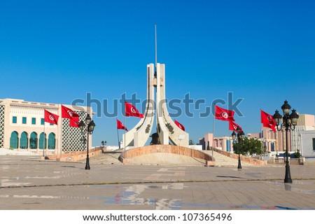 Main city square in Tunis - stock photo