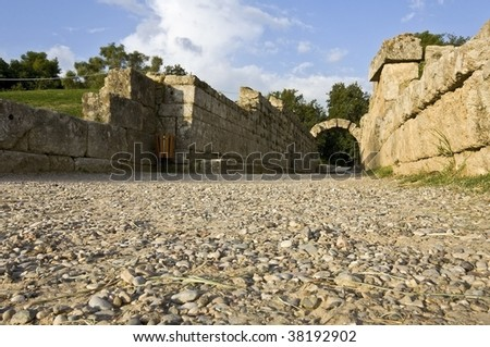 Main entrance at ancient Olympia stadium in Greece - stock photo