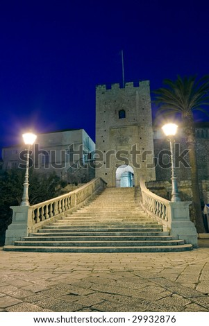 Main entrance in old medieval town Korcula  by night. Croatia, Dalmatia region, Europe. - stock photo