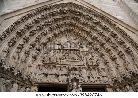 Main Entrance of Notre Dame de Paris - Portal of the Last Judgment. - stock photo
