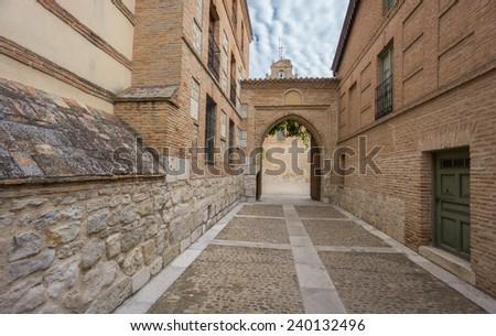 Main entrance of Santa Clara Convent in Tordesillas - stock photo