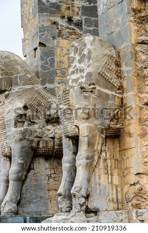 Main entrance statue into the ancient city of Persepolis, Iran. UNESCO World heritage site