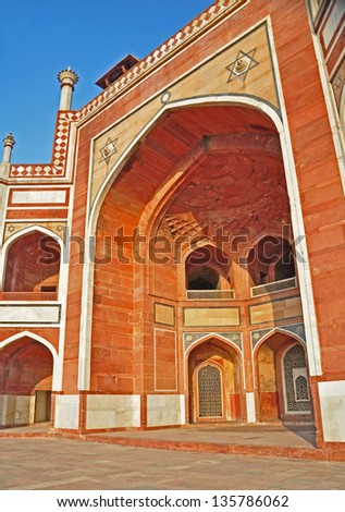 Main Entrance to Humayun's Tomb, Delhi. Tastefully decorated and displaying the popular design features of Mughal architecture, the entrance is striking.