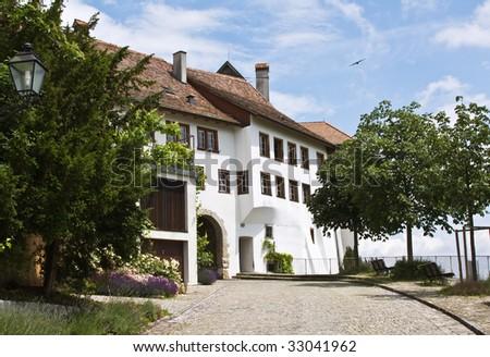 Main entrance to the Regensberg castle near Zurich, Switzerland - stock photo