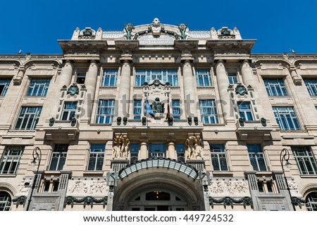 Main facade of the New Franz Liszt Academy of Music in Budapest, a concert hall and music conservatory in the city founded in 1875. - stock photo