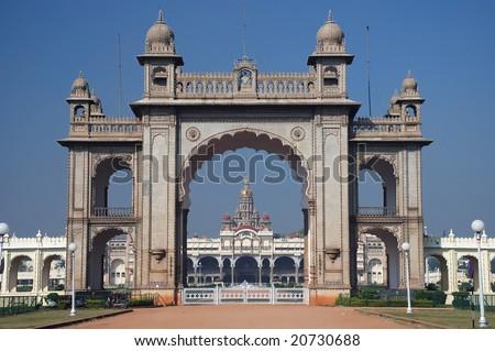 Main gate of Mysore Maharajah's palace (India) - stock photo