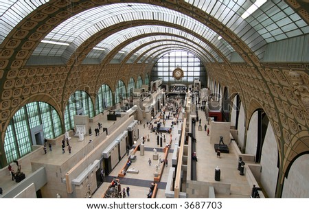 Main hall of the d'Orsay Museum in Paris, housed in a former railway station - stock photo