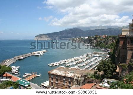Main harbor on the Italian coast - stock photo