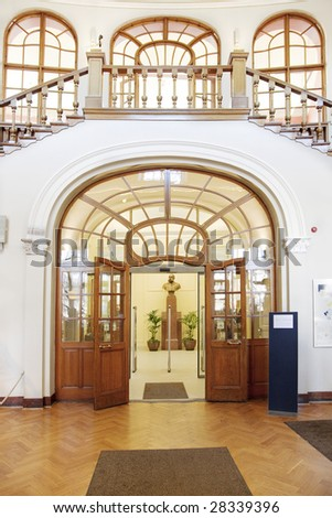 Main lobby and entrance of a historical public library. Main lobby. - stock photo