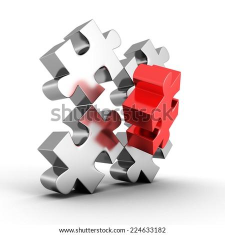 main part of metallic jigsaw puzzle. 3d render illustration - stock photo