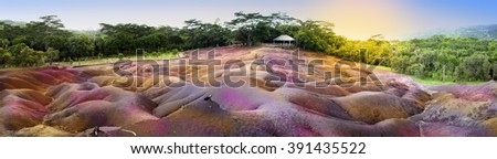 Main sight of Mauritius- Chamarel- seven color lands - stock photo