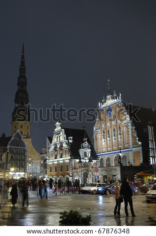 Main square and historic center of XII century in Riga, in Latvia. - stock photo
