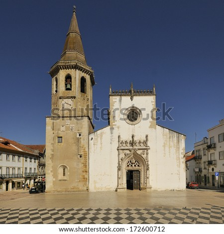 Main square in Tomar - Portugal. The town of knights Templar - stock photo