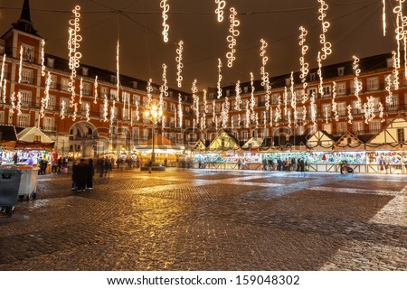 Main square of Madrid illuminated for christmas - stock photo