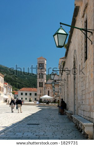Main square on island of Hvar, Croatia