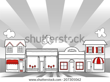 Main Street America, Illustration of USA retro stores, shops and small businesses, sunrise ray background with copy space.   - stock photo
