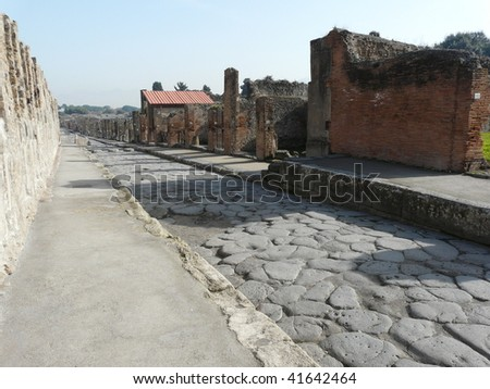 Main street at the ancient Roman city of Pompeii, which was destroyed and buried by ash during the eruption of Mount Vesuvius in 79 AD