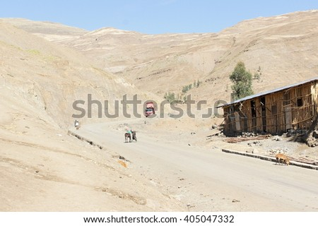 Main street in Chiro Leba village ,Simien mountains, Ethiopia - stock photo