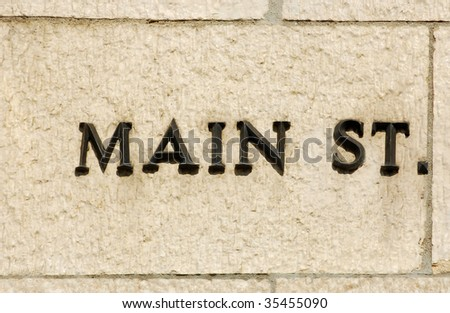Main Street on side of building - stock photo