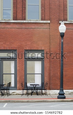 main street scene - stock photo