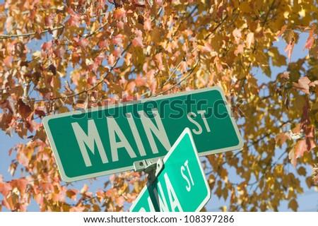Main Street sign, New Hampshire, New England - stock photo