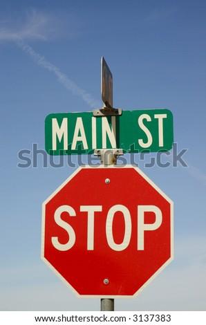 main street stop sign - stock photo