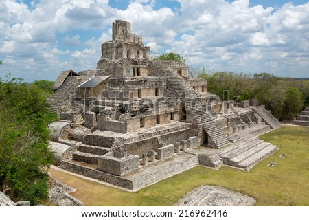 main temple at the Mayan archaeological site of Edzna in the state of Campeche, Mexico - stock photo