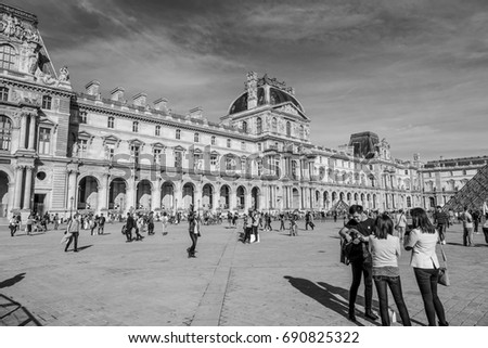 main tourist attraction paris louvre museum stock photo royalty