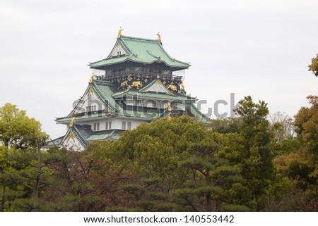 Main tower of the Osaka Castle, Osaka, Japan. - stock photo