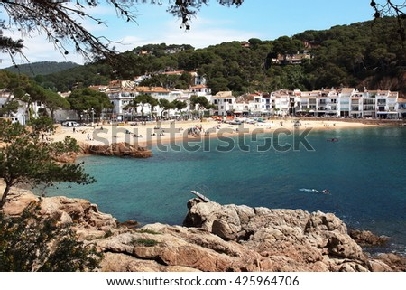 Main view of Tamariu beach and village. This is one of the most wonderful spots of the Spanish mediterranean seaside. - stock photo