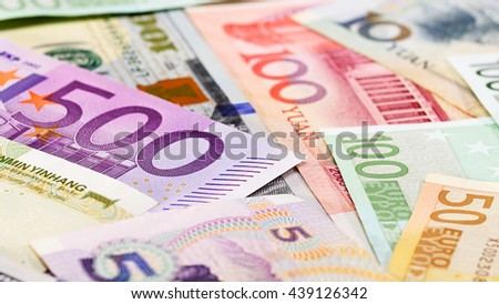 Main word currency Yuan, US Dollar and Euro bank notes business background
