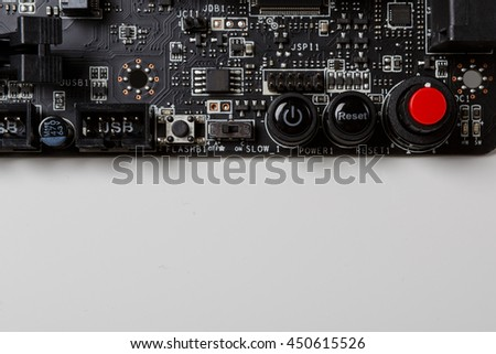 Mainboard with reset, power and alarm button - stock photo