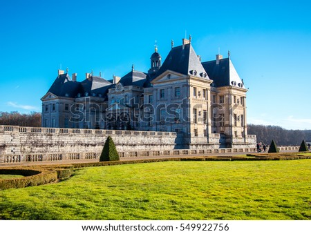 MAINCY, FRANCE - Desember 29, 2016: Vaux le Vicomte castle and garden, located in the vicinity of Melun, 55 km south-east of Paris.
