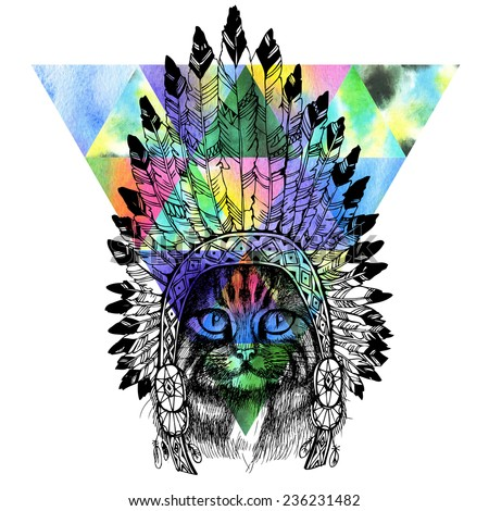 Maine coon cat portrait with native american indian chief headdress (indian chief mascot, indian tribal headdress, indian headdress). Hand drawn raster illustration.  - stock photo
