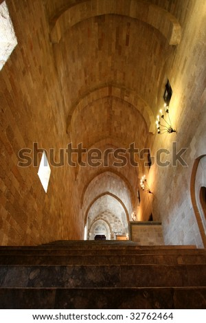 Maine entry and Interior of medieval castle of St. John Rhodes island