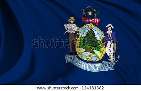 Maine flag - USA state flags collection no_3 - stock photo