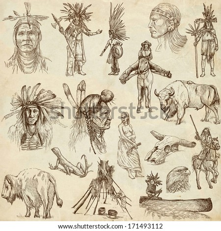 Mainly INDIANS (and Wild West as well). Collection of an hand drawn illustrations, originals. Description: Full sized hand drawn illustrations drawing on old paper. - stock photo