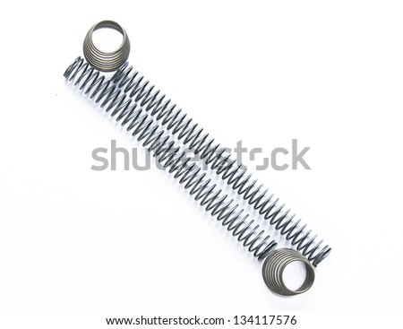 mainspring on the white background - stock photo