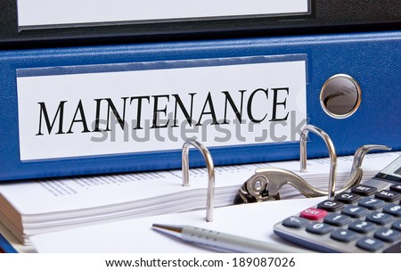 Maintenance binder in the office - stock photo