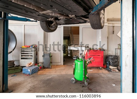 Maintenance of cars - tools, materials, equipment. - stock photo